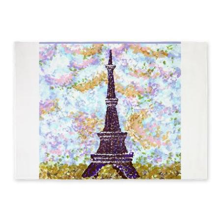 cafepress marketplace 5x7 feet area rug with the Eiffel Tower in pointillism on sale 30% off