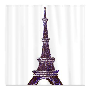 Eiffel Tower pointillism WHITE shower curtain on sale 30% off in cafepress.com marketplace