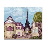 cafepress.com marketplace king duvet with Paris / Eiffel Tower inspired landscape