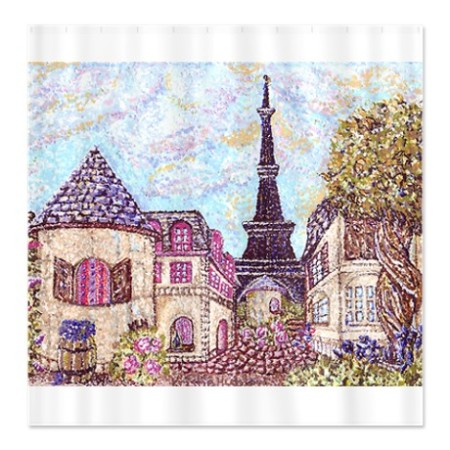 Paris and Eiffel Tower pointillism cityscape shower curtain in cafepress.com marketplace on sale
