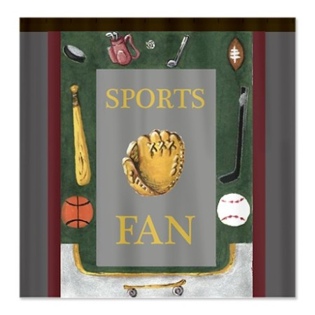 sports fan with equipment shower curtain in cafepress.com marketplace on sale