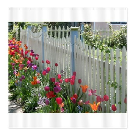 shower curtain with tulips lined white picket fence in cafepress.com marketplace on sale