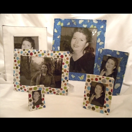$5 epattern crafts to make 6 pattern sizes of washable, sewn, fabric picture frames