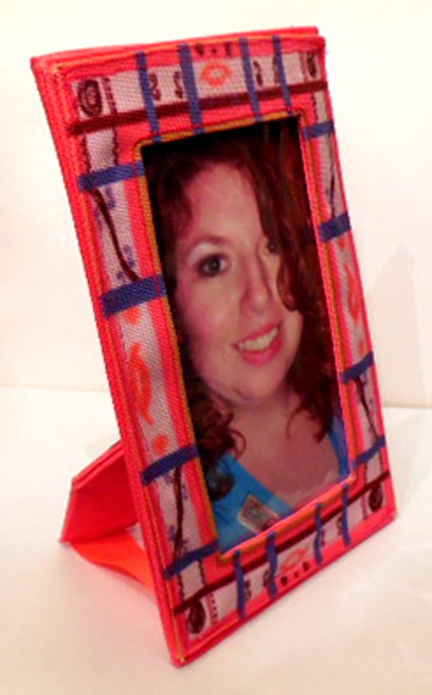This is the finished fabric photo frame using the custom fabric fat quarter sewing pattern cut and sew now on Zazzle.com